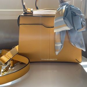 Mustard Steve Madden Satchel Purse with Blue scarf